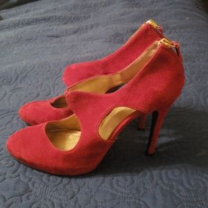 Red Suede Guess Heels